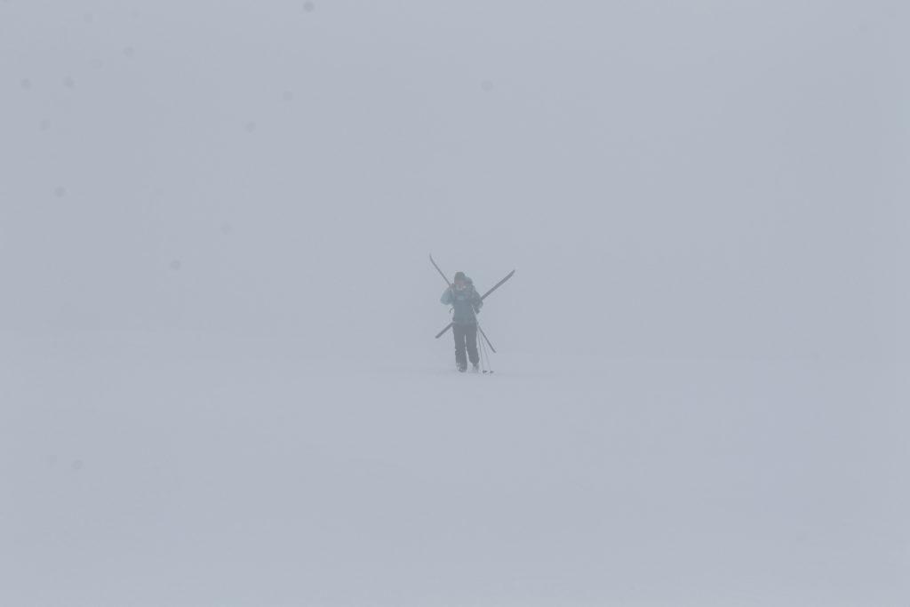 det var riktigt tjock dimma på väg mot toppen.